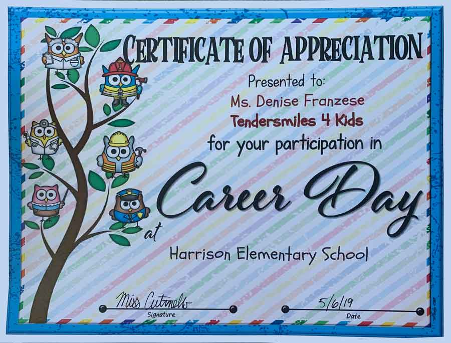 certificate of appreciation from Harrison Elementary School on Career Day