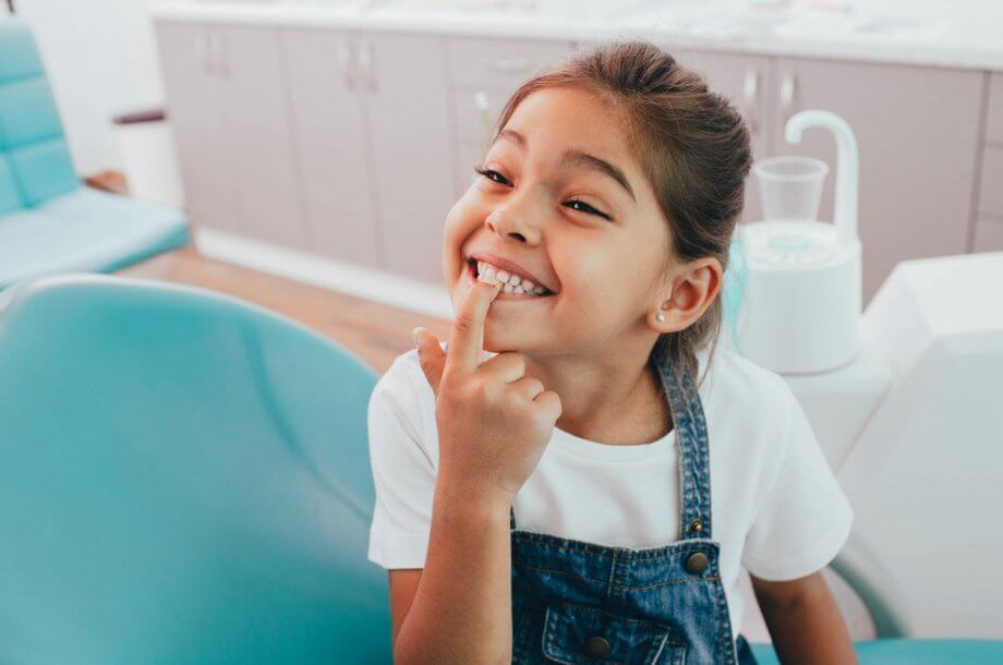 little girl at dentist